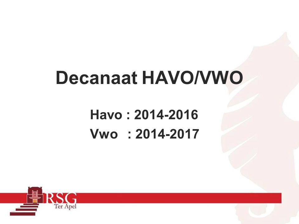 Decanaat HAVO/VWO Havo : 2014-2016 Vwo : 2014-2017