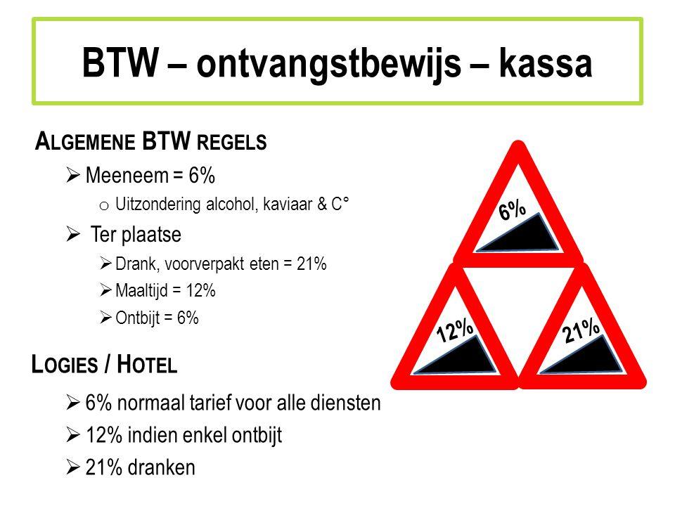A LGEMENE BTW REGELS  Meeneem = 6% o Uitzondering alcohol, kaviaar & C°  Ter plaatse  Drank, voorverpakt eten = 21%  Maaltijd = 12%  Ontbijt = 6% L OGIES / H OTEL  6% normaal tarief voor alle diensten  12% indien enkel ontbijt  21% dranken 6% 12%21% BTW – ontvangstbewijs – kassa