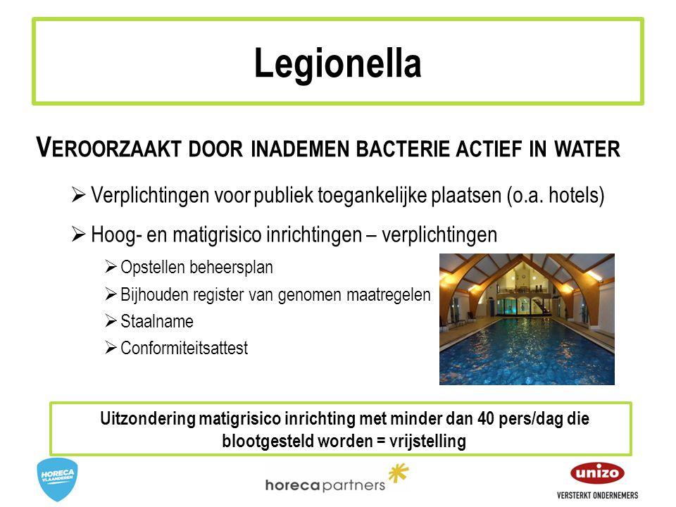 V EROORZAAKT DOOR INADEMEN BACTERIE ACTIEF IN WATER  Verplichtingen voor publiek toegankelijke plaatsen (o.a.