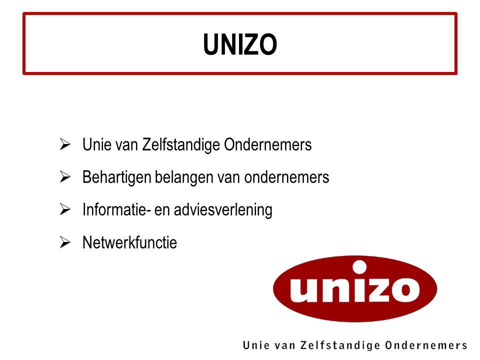  Unie van Zelfstandige Ondernemers  Behartigen belangen van ondernemers  Informatie- en adviesverlening  Netwerkfunctie UNIZO