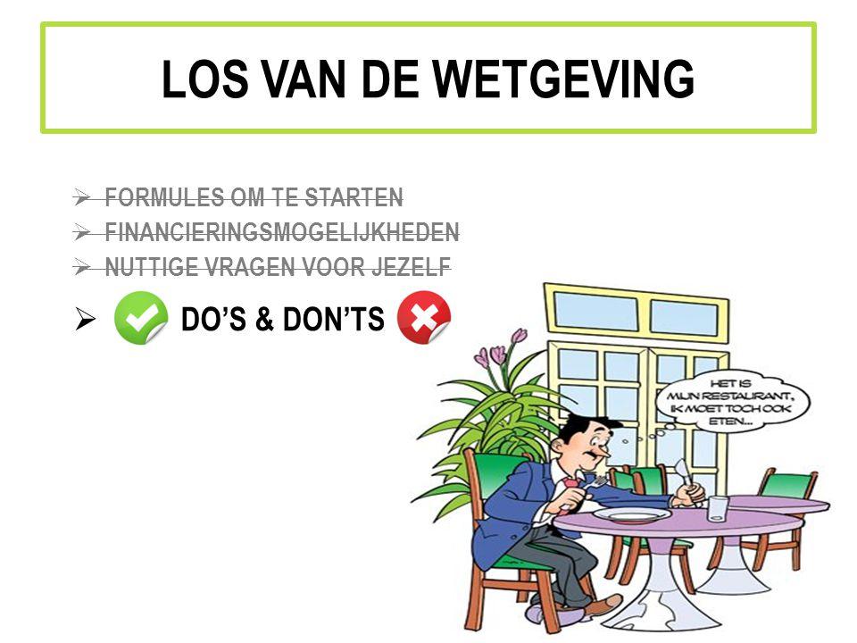 LOS VAN DE WETGEVING  FORMULES OM TE STARTEN  FINANCIERINGSMOGELIJKHEDEN  NUTTIGE VRAGEN VOOR JEZELF  DO'S & DON'TS