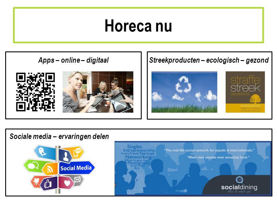 Apps – online – digitaalStreekproducten – ecologisch – gezond Sociale media – ervaringen delen Horeca nu
