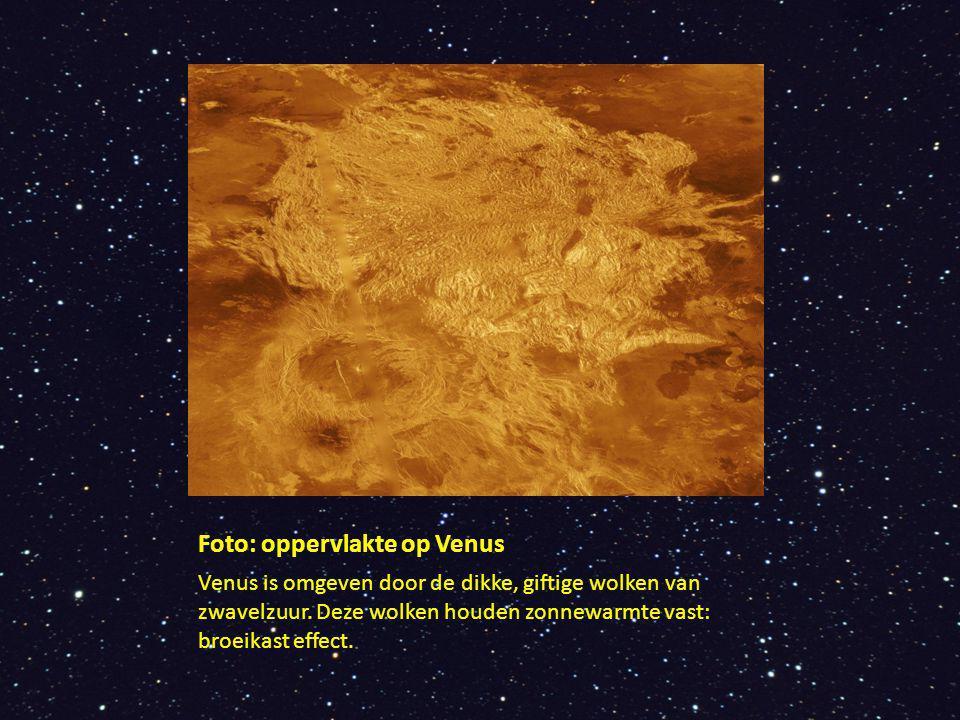 Foto: oppervlakte op Venus Venus is omgeven door de dikke, giftige wolken van zwavelzuur. Deze wolken houden zonnewarmte vast: broeikast effect.