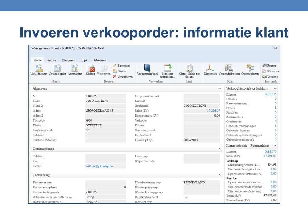 Invoeren verkooporder: informatie klant