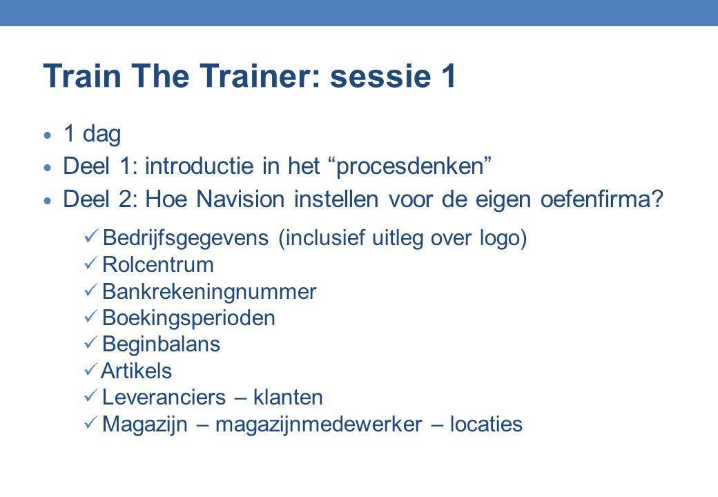 """Train The Trainer: sessie 1  1 dag  Deel 1: introductie in het """"procesdenken""""  Deel 2: Hoe Navision instellen voor de eigen oefenfirma? Bedrijfsgeg"""