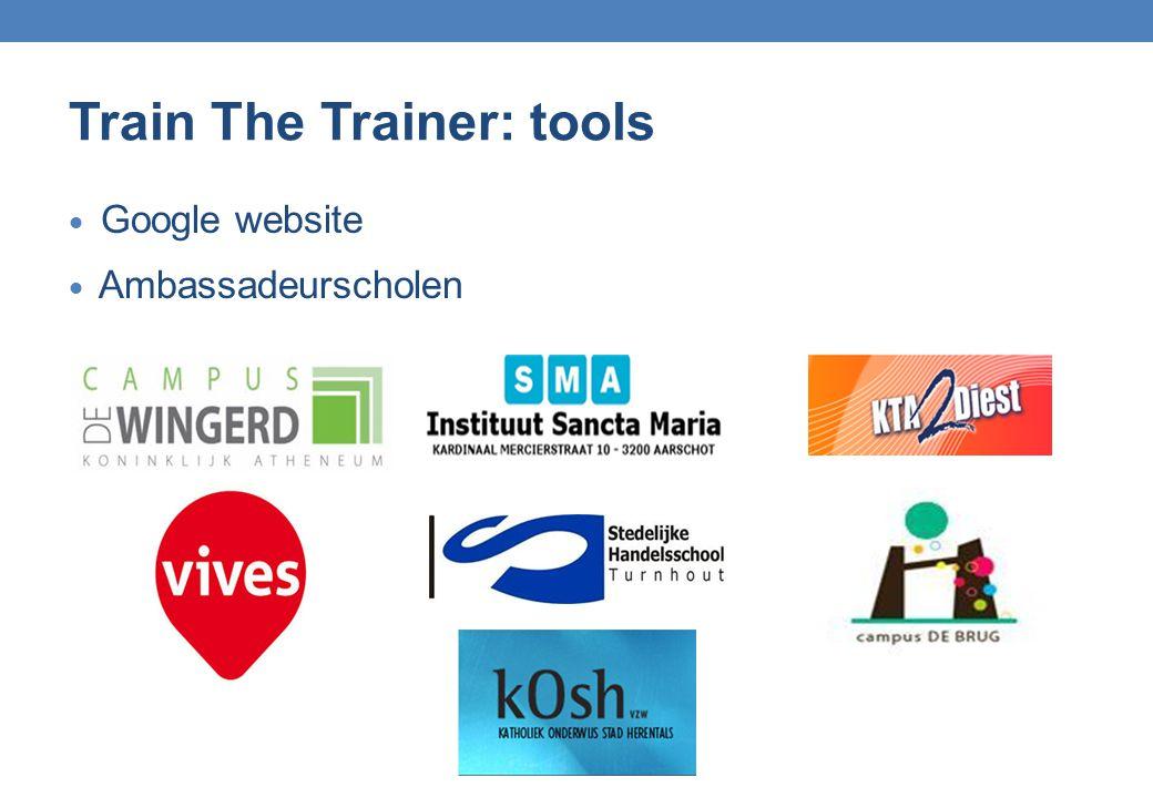 Train The Trainer: tools  Google website  Ambassadeurscholen