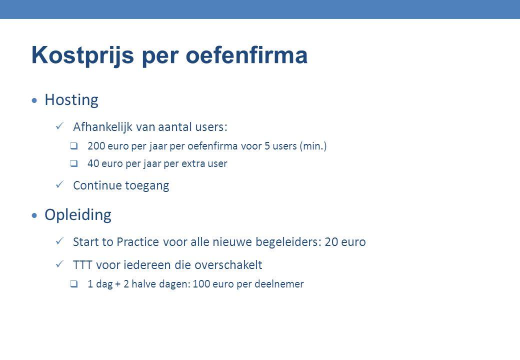 Kostprijs per oefenfirma  Hosting Afhankelijk van aantal users:  200 euro per jaar per oefenfirma voor 5 users (min.)  40 euro per jaar per extra u