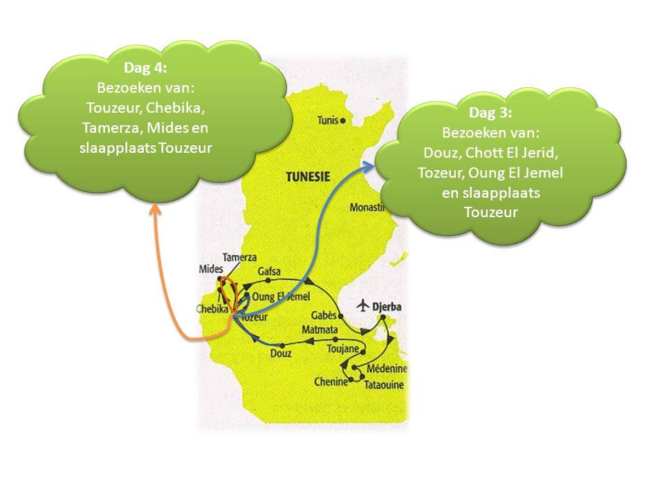 Dag 3: Bezoeken van: Douz, Chott El Jerid, Tozeur, Oung El Jemel en slaapplaats Touzeur Dag 3: Bezoeken van: Douz, Chott El Jerid, Tozeur, Oung El Jem
