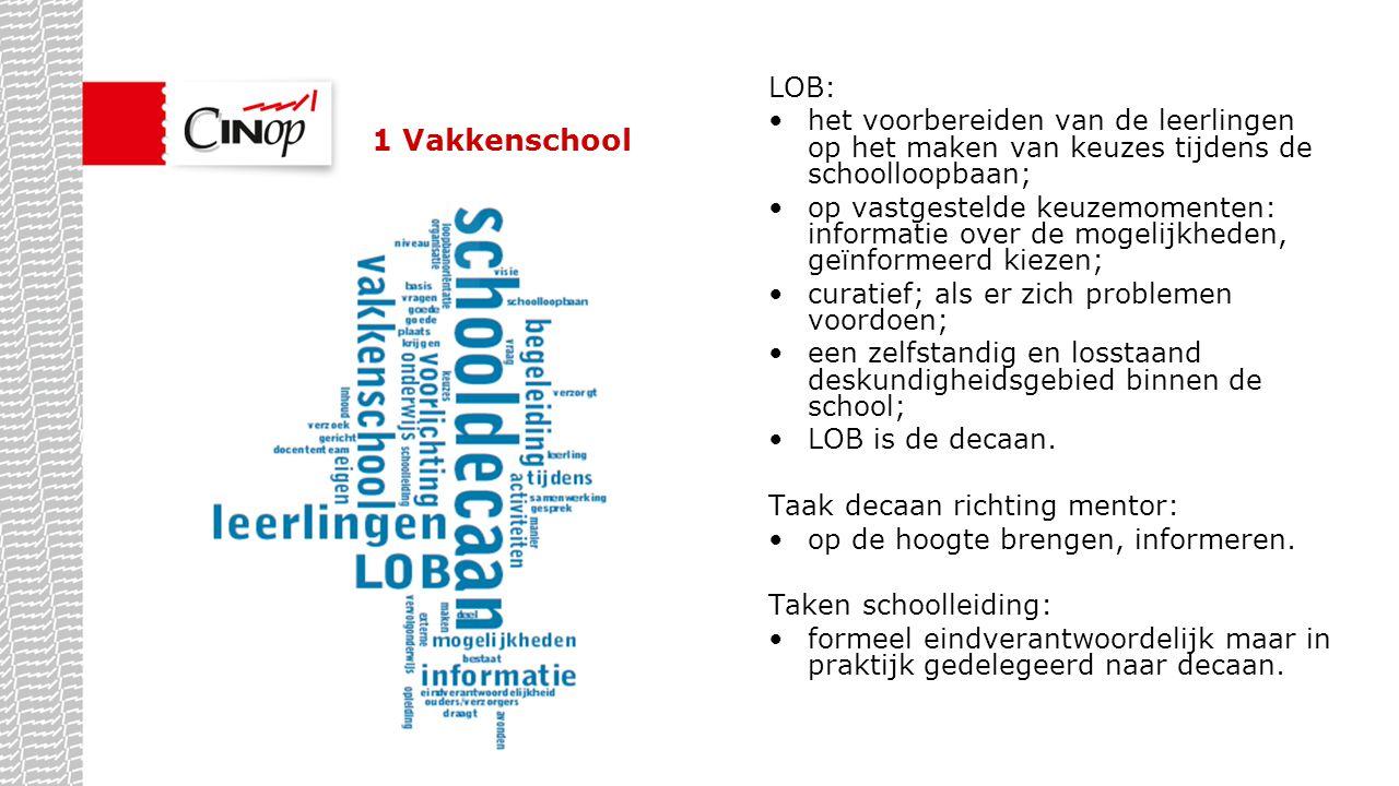 1 Vakkenschool LOB: het voorbereiden van de leerlingen op het maken van keuzes tijdens de schoolloopbaan; op vastgestelde keuzemomenten: informatie ov