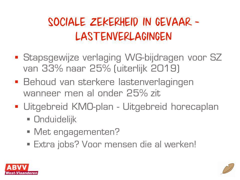 Sociale zekerheid in gevaar - lastenverlagingen  Stapsgewijze verlaging WG-bijdragen voor SZ van 33% naar 25% (uiterlijk 2019)  Behoud van sterkere lastenverlagingen wanneer men al onder 25% zit  Uitgebreid KMO-plan - Uitgebreid horecaplan  Onduidelijk  Met engagementen.