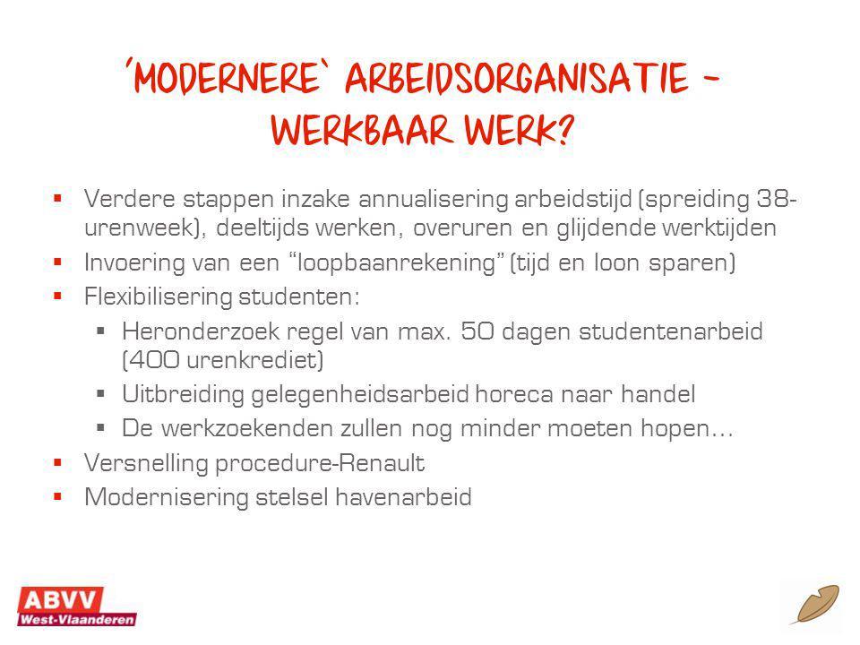 'modernere' arbeidsorganisatie – werkbaar werk.