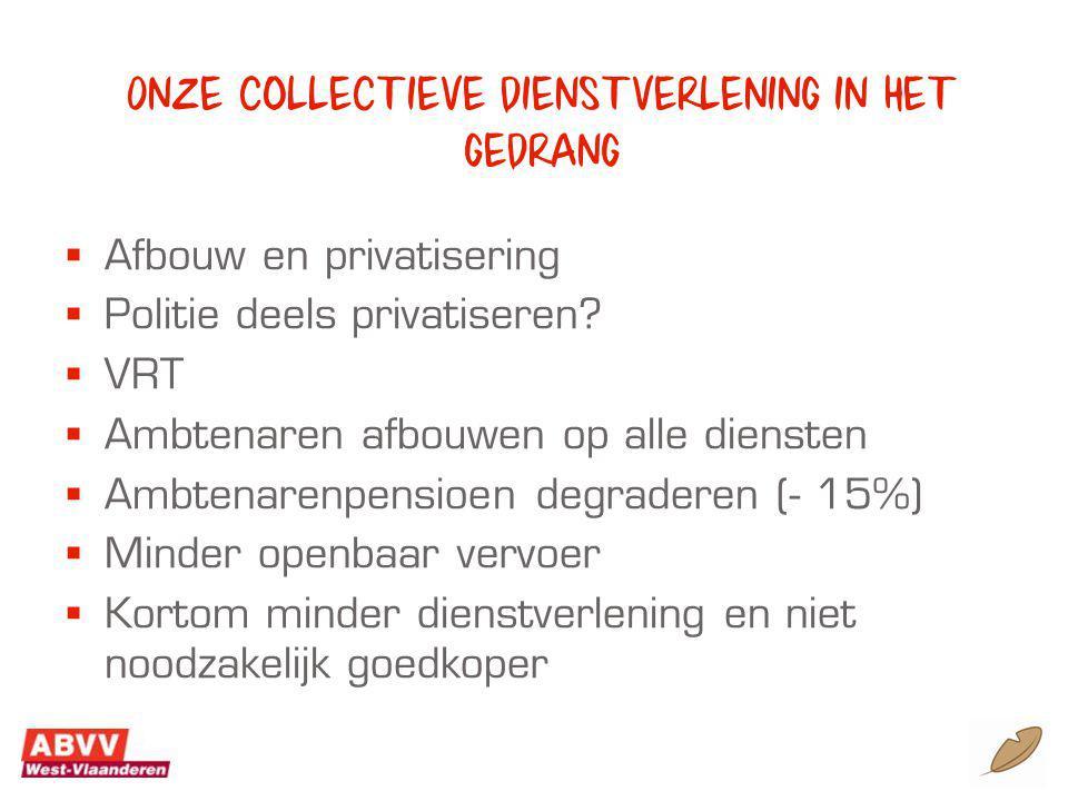 Onze collectieve dienstverlening in het gedrang  Afbouw en privatisering  Politie deels privatiseren.