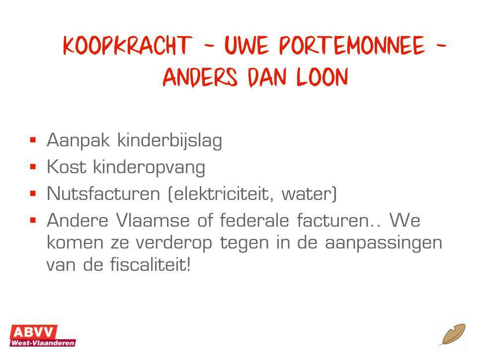 Koopkracht – uwe portemonnee – anders dan loon  Aanpak kinderbijslag  Kost kinderopvang  Nutsfacturen (elektriciteit, water)  Andere Vlaamse of federale facturen..