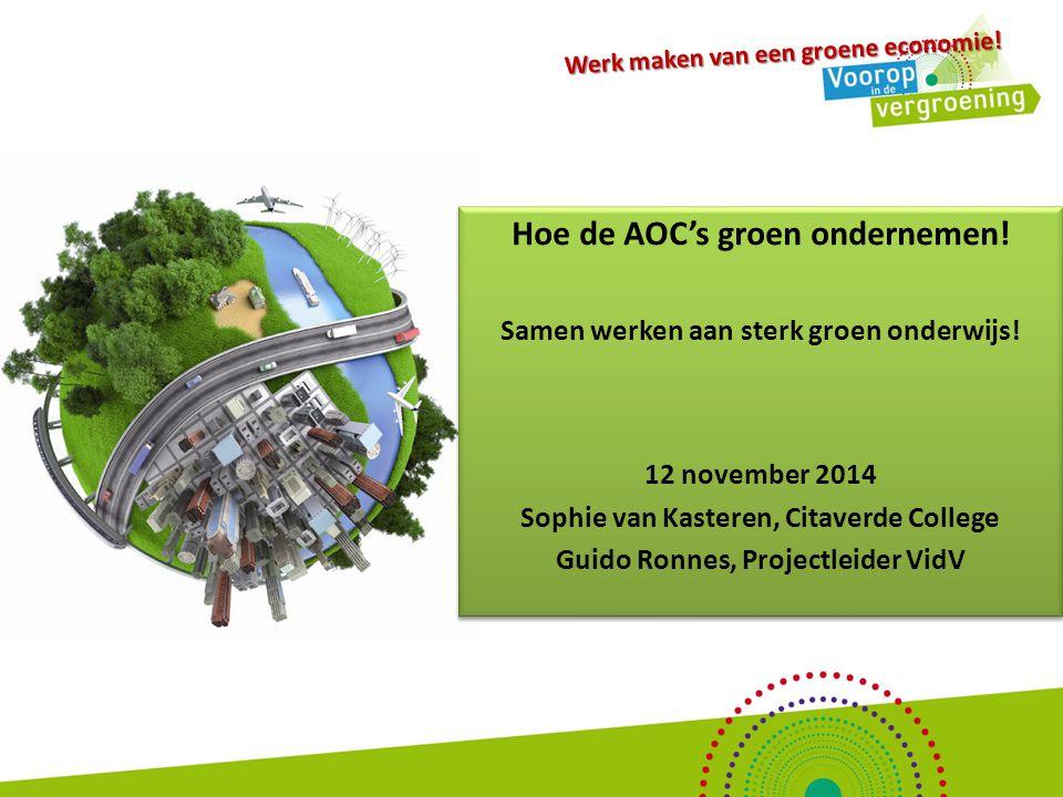 Maatschappelijk uitdagingen vragen om een groene economie..