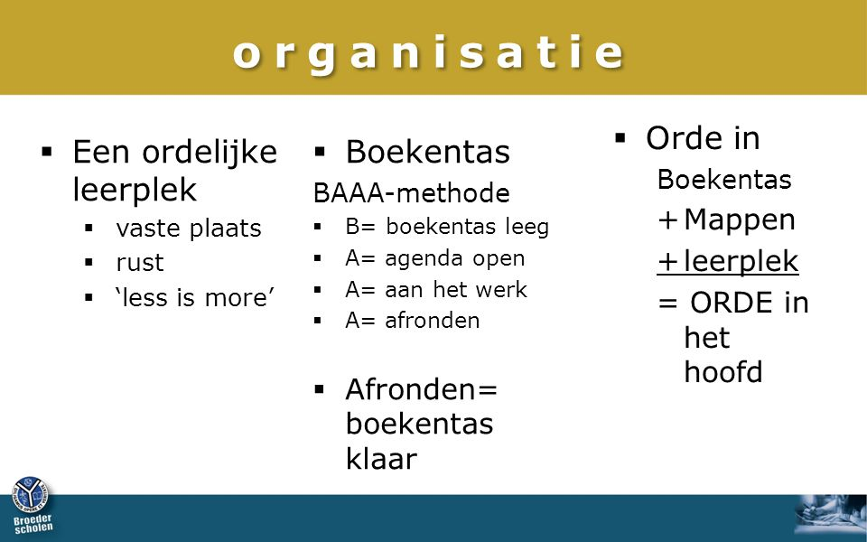 organisatie  Orde in Boekentas +Mappen +leerplek = ORDE in het hoofd  Boekentas BAAA-methode  B= boekentas leeg  A= agenda open  A= aan het werk  A= afronden  Afronden= boekentas klaar  Een ordelijke leerplek  vaste plaats  rust  'less is more'