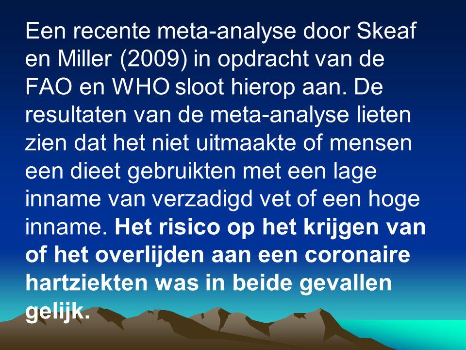 Een recente meta-analyse door Skeaf en Miller (2009) in opdracht van de FAO en WHO sloot hierop aan. De resultaten van de meta-analyse lieten zien dat