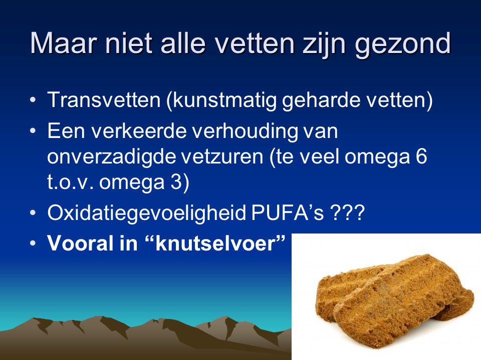 Maar niet alle vetten zijn gezond Transvetten (kunstmatig geharde vetten) Een verkeerde verhouding van onverzadigde vetzuren (te veel omega 6 t.o.v. o