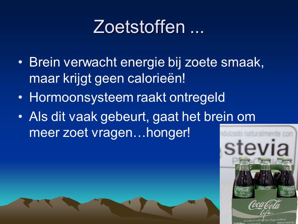 Zoetstoffen... Brein verwacht energie bij zoete smaak, maar krijgt geen calorieën! Hormoonsysteem raakt ontregeld Als dit vaak gebeurt, gaat het brein