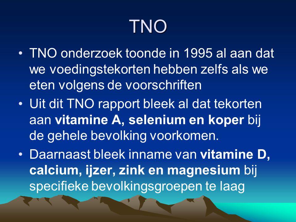 TNO TNO onderzoek toonde in 1995 al aan dat we voedingstekorten hebben zelfs als we eten volgens de voorschriften Uit dit TNO rapport bleek al dat tek