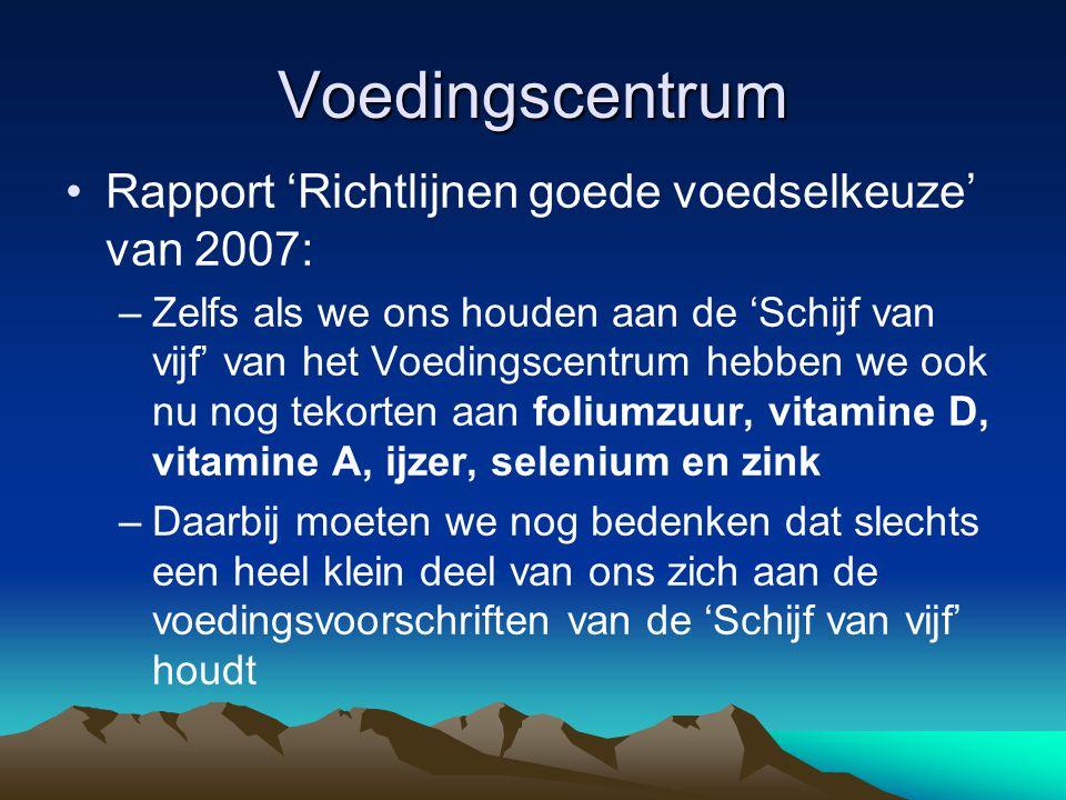 Voedingscentrum Rapport 'Richtlijnen goede voedselkeuze' van 2007: –Zelfs als we ons houden aan de 'Schijf van vijf' van het Voedingscentrum hebben we