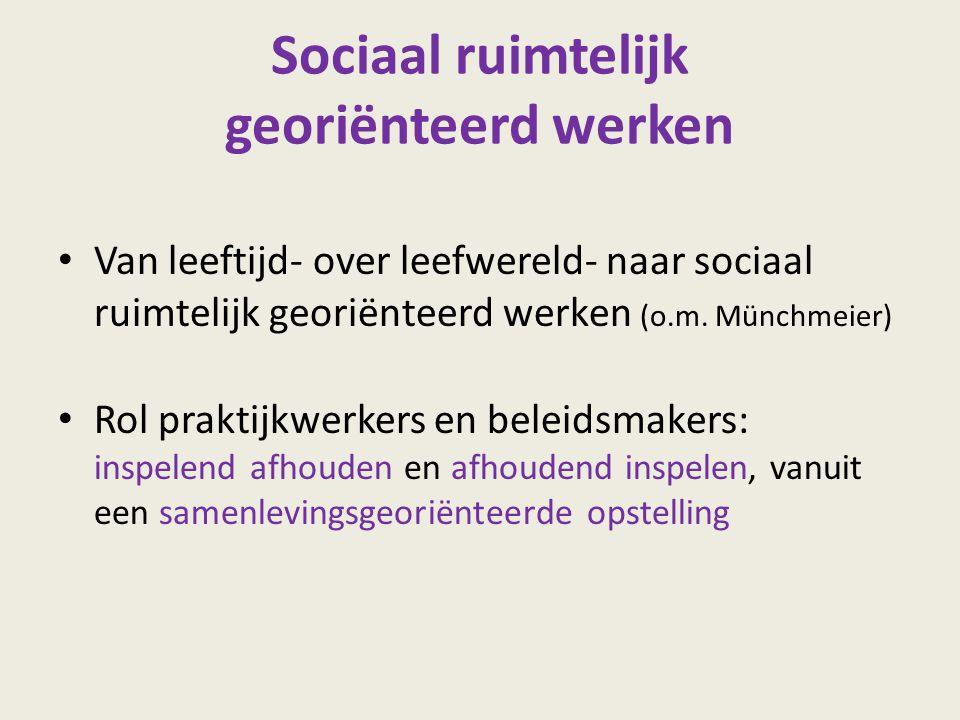 Sociaal ruimtelijk georiënteerd werken Van leeftijd- over leefwereld- naar sociaal ruimtelijk georiënteerd werken (o.m. Münchmeier) Rol praktijkwerker