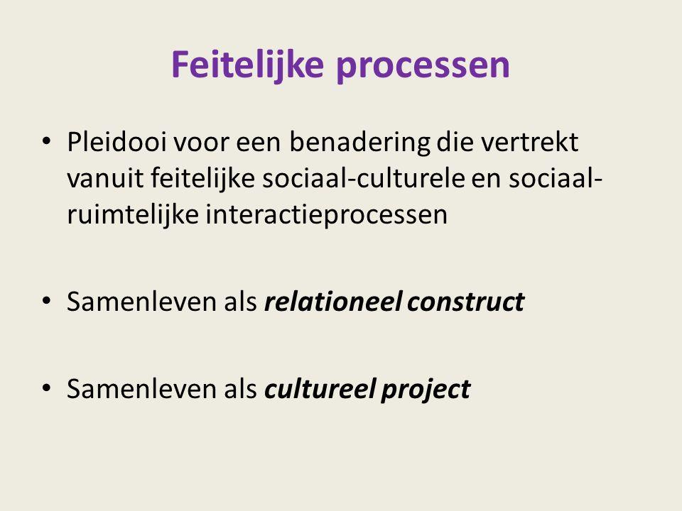 Feitelijke processen Pleidooi voor een benadering die vertrekt vanuit feitelijke sociaal-culturele en sociaal- ruimtelijke interactieprocessen Samenle