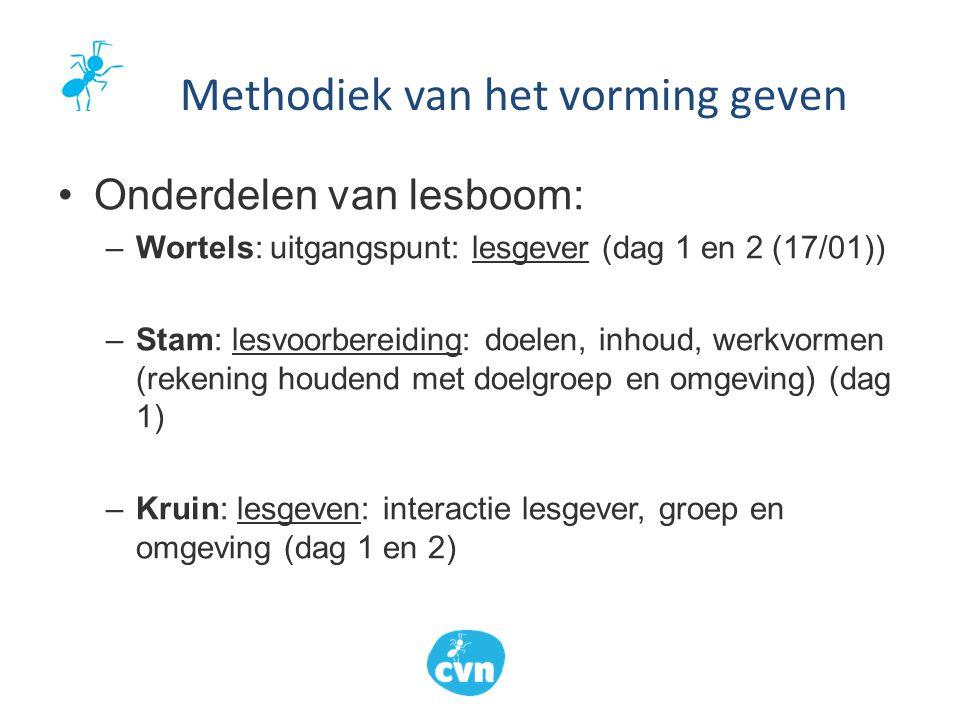 Onderdelen van lesboom: –Wortels: uitgangspunt: lesgever (dag 1 en 2 (17/01)) –Stam: lesvoorbereiding: doelen, inhoud, werkvormen (rekening houdend me