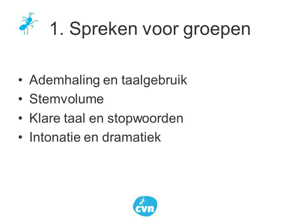 Ademhaling en taalgebruik Stemvolume Klare taal en stopwoorden Intonatie en dramatiek 1. Spreken voor groepen
