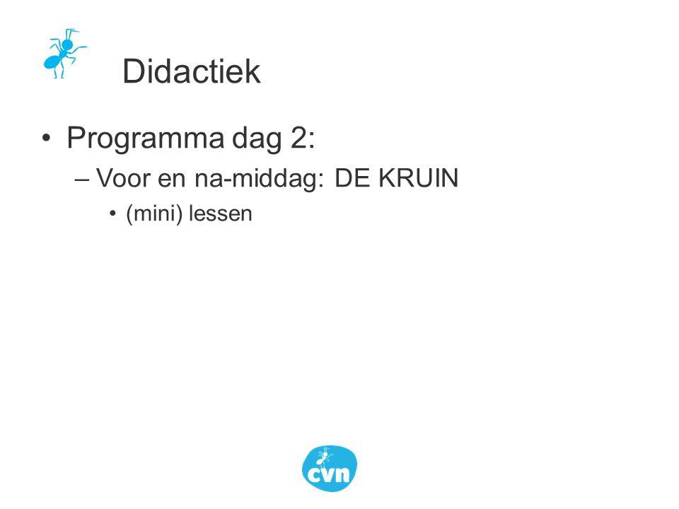 Programma dag 2: –Voor en na-middag: DE KRUIN (mini) lessen Didactiek