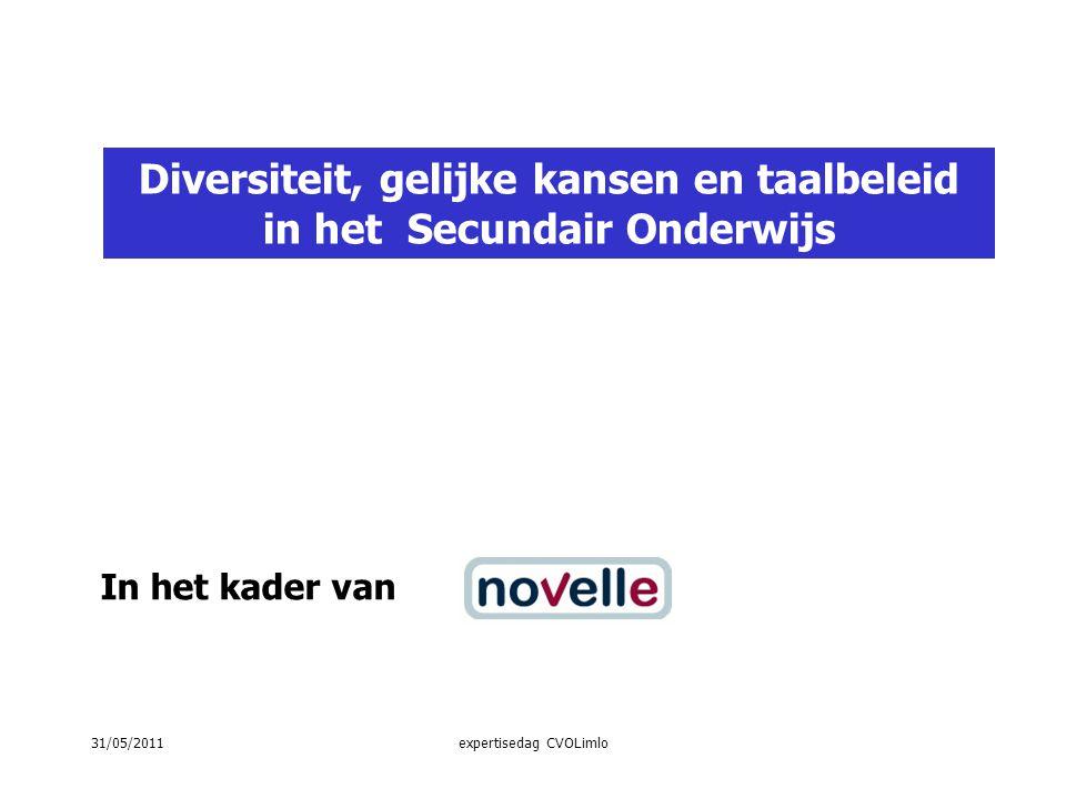 In het kader van Diversiteit, gelijke kansen en taalbeleid in het Secundair Onderwijs 31/05/2011expertisedag CVOLimlo