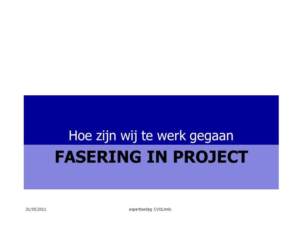 FASERING IN PROJECT Hoe zijn wij te werk gegaan 31/05/2011expertisedag CVOLimlo