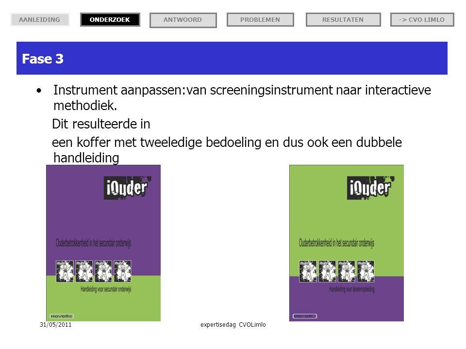 Instrument aanpassen:van screeningsinstrument naar interactieve methodiek.
