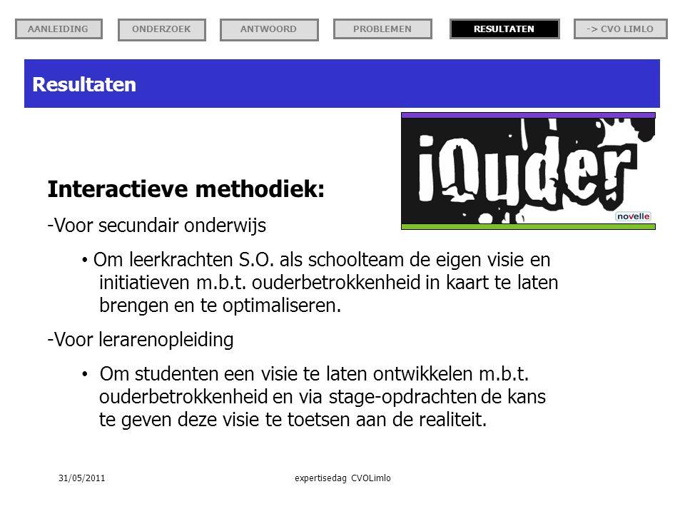 Resultaten Interactieve methodiek: -Voor secundair onderwijs Om leerkrachten S.O.