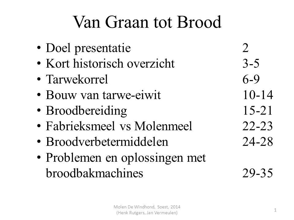 Van Graan tot Brood Doel presentatie2 Kort historisch overzicht3-5 Tarwekorrel6-9 Bouw van tarwe-eiwit10-14 Broodbereiding15-21 Fabrieksmeel vs Molenm