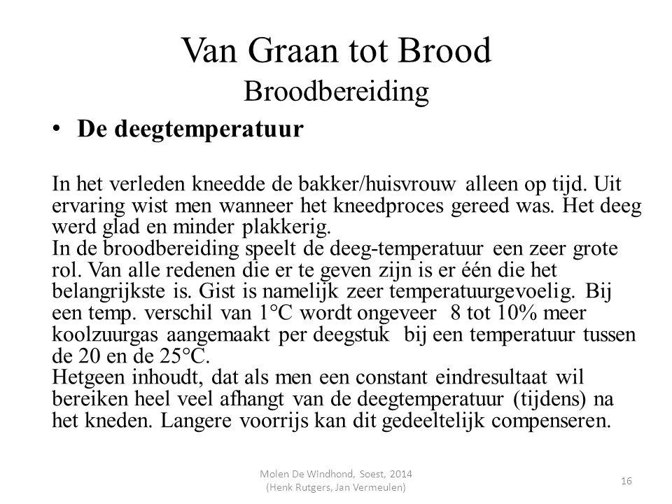 Van Graan tot Brood Broodbereiding De deegtemperatuur In het verleden kneedde de bakker/huisvrouw alleen op tijd. Uit ervaring wist men wanneer het kn