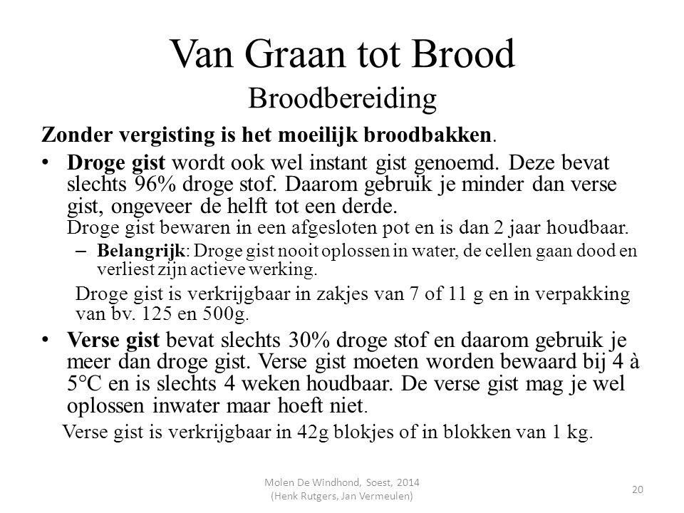 Van Graan tot Brood Broodbereiding Zonder vergisting is het moeilijk broodbakken. Droge gist wordt ook wel instant gist genoemd. Deze bevat slechts 96
