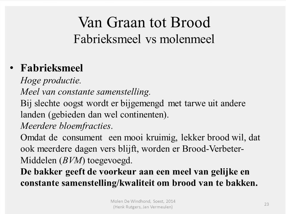 Van Graan tot Brood Fabrieksmeel vs molenmeel Fabrieksmeel Hoge productie. Meel van constante samenstelling. Bij slechte oogst wordt er bijgemengd met