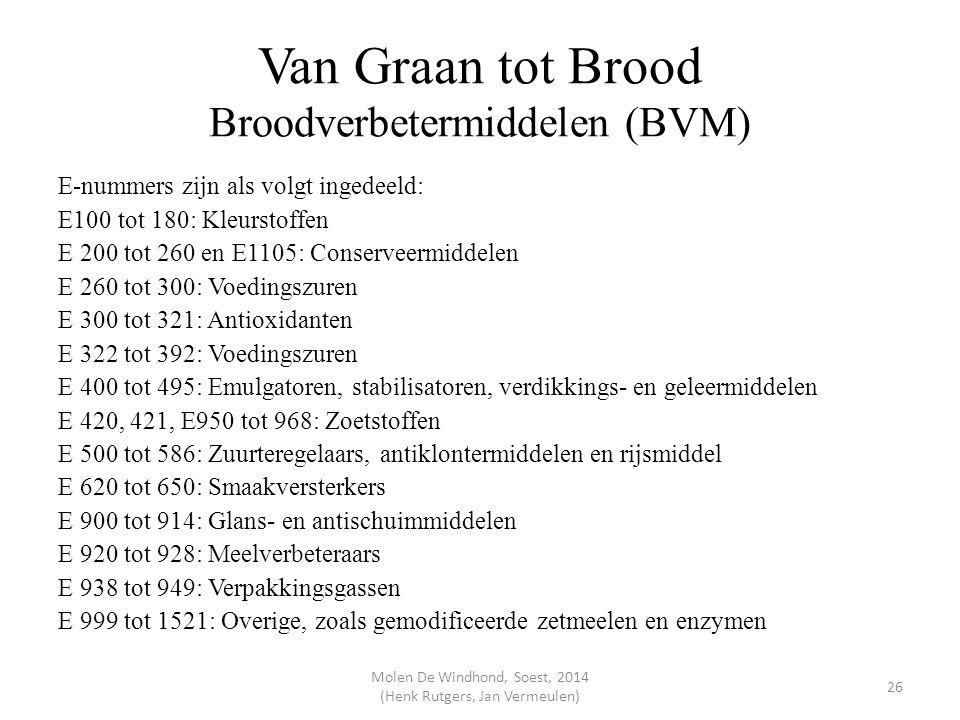 Van Graan tot Brood Broodverbetermiddelen (BVM) E-nummers zijn als volgt ingedeeld: E100 tot 180: Kleurstoffen E 200 tot 260 en E1105: Conserveermidde