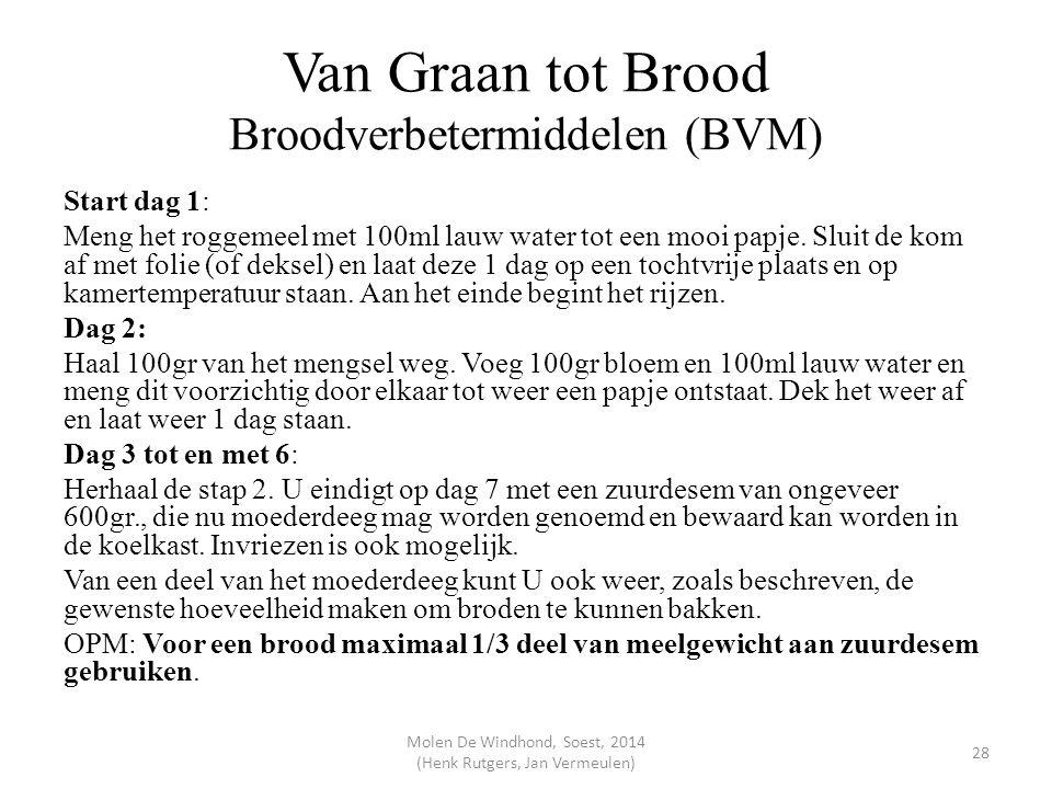 Van Graan tot Brood Broodverbetermiddelen (BVM) Start dag 1: Meng het roggemeel met 100ml lauw water tot een mooi papje. Sluit de kom af met folie (of