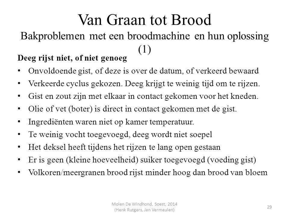 Van Graan tot Brood Bakproblemen met een broodmachine en hun oplossing (1) Deeg rijst niet, of niet genoeg Onvoldoende gist, of deze is over de datum,