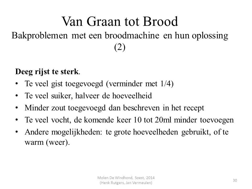 Van Graan tot Brood Bakproblemen met een broodmachine en hun oplossing (2) Deeg rijst te sterk. Te veel gist toegevoegd (verminder met 1/4) Te veel su