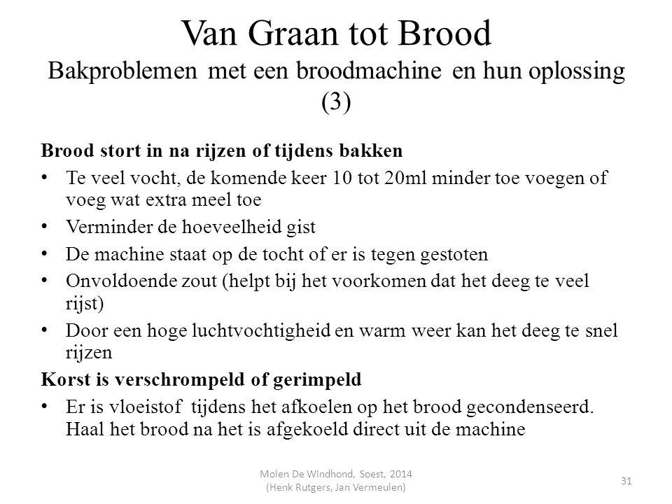 Van Graan tot Brood Bakproblemen met een broodmachine en hun oplossing (3) Brood stort in na rijzen of tijdens bakken Te veel vocht, de komende keer 1