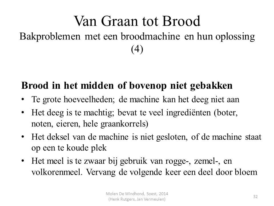 Van Graan tot Brood Bakproblemen met een broodmachine en hun oplossing (4) Brood in het midden of bovenop niet gebakken Te grote hoeveelheden; de mach