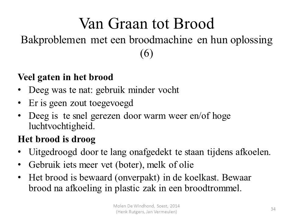 Van Graan tot Brood Bakproblemen met een broodmachine en hun oplossing (6) Veel gaten in het brood Deeg was te nat: gebruik minder vocht Er is geen zo