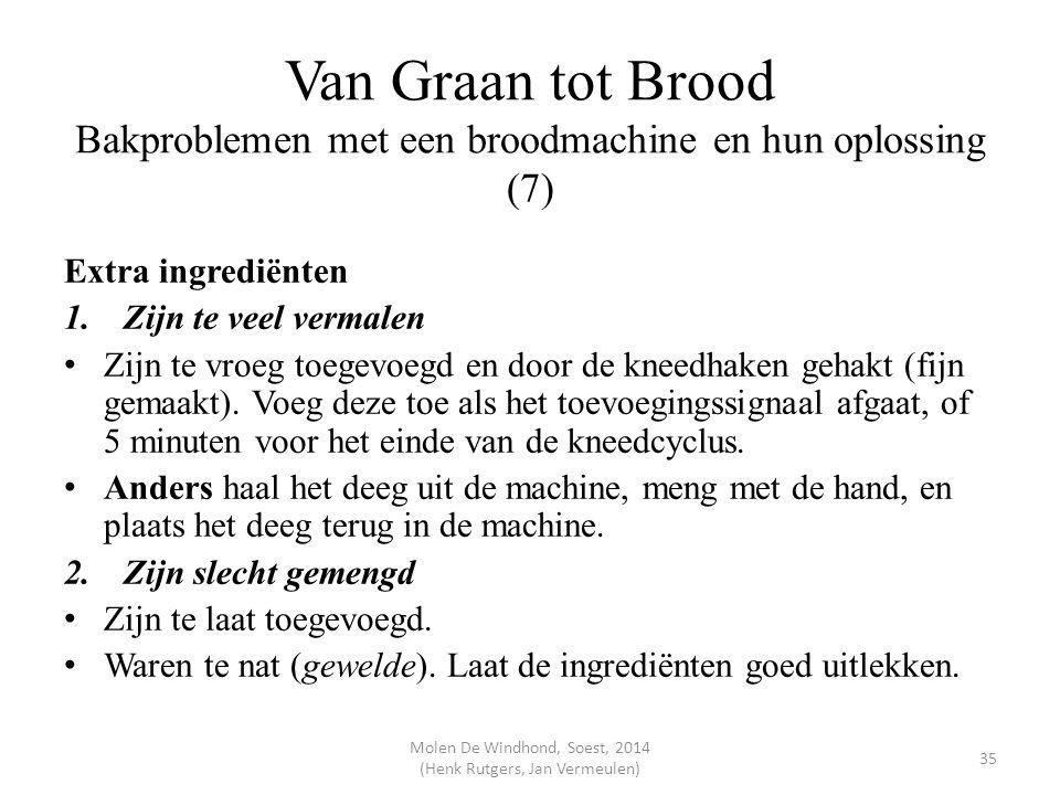 Van Graan tot Brood Bakproblemen met een broodmachine en hun oplossing (7) Extra ingrediënten 1.Zijn te veel vermalen Zijn te vroeg toegevoegd en door