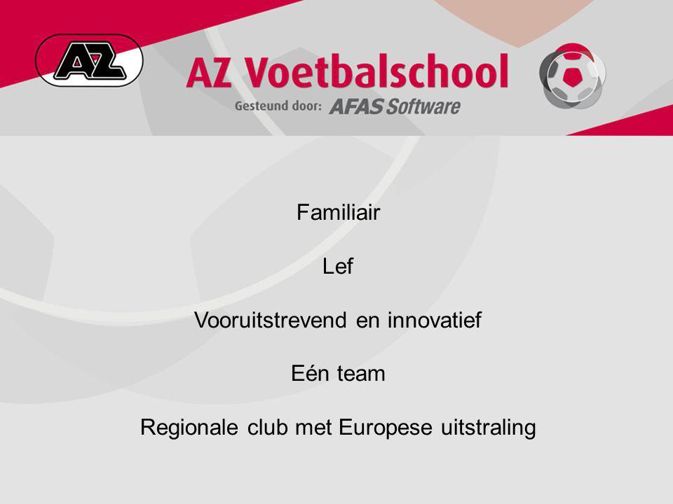 Familiair Lef Vooruitstrevend en innovatief Eén team Regionale club met Europese uitstraling