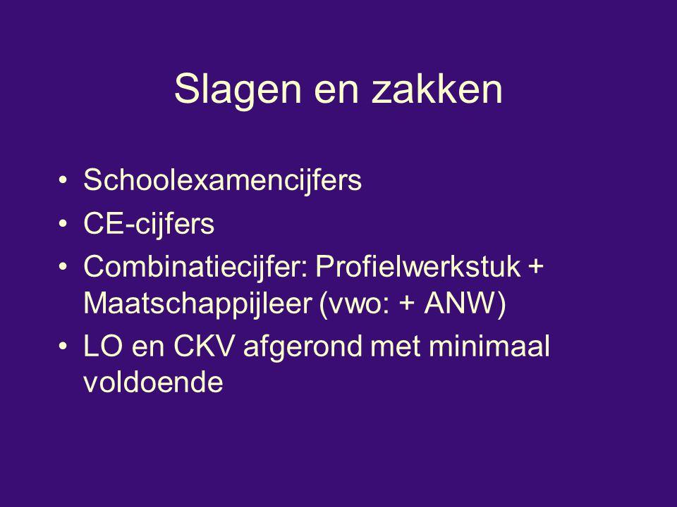 Slagen en zakken Schoolexamencijfers CE-cijfers Combinatiecijfer: Profielwerkstuk + Maatschappijleer (vwo: + ANW) LO en CKV afgerond met minimaal vold