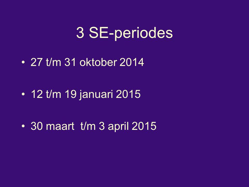 3 SE-periodes 27 t/m 31 oktober 2014 12 t/m 19 januari 2015 30 maart t/m 3 april 2015