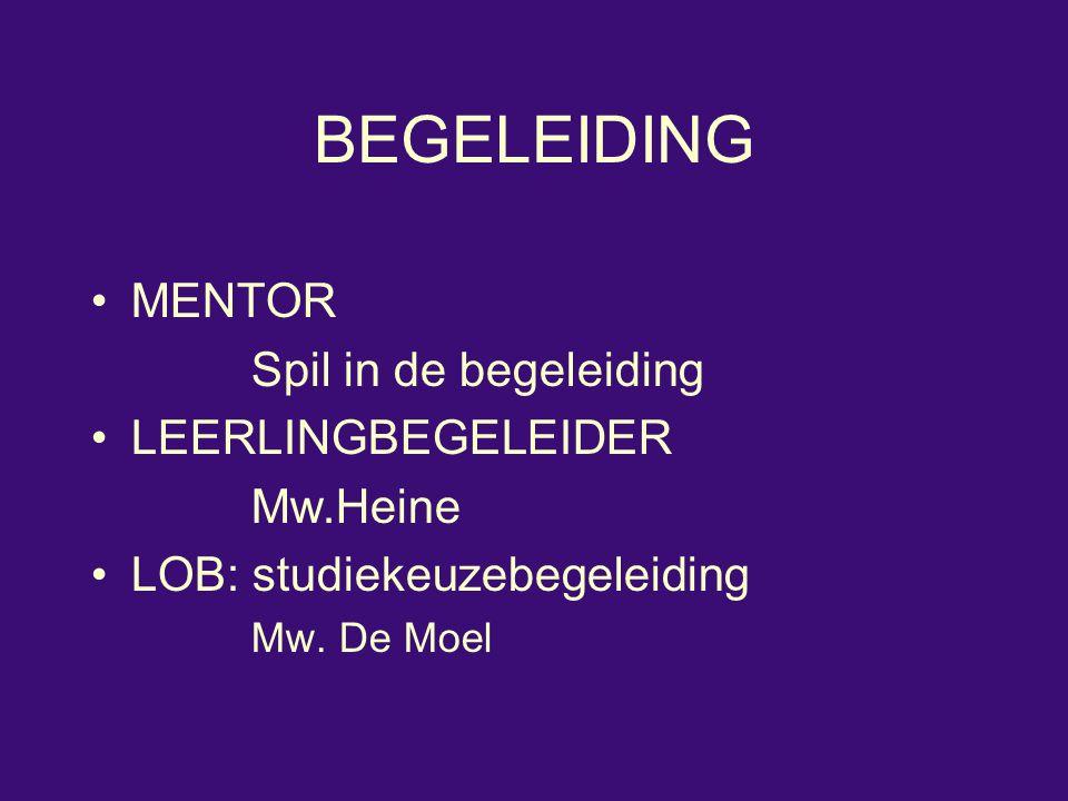 BEGELEIDING MENTOR Spil in de begeleiding LEERLINGBEGELEIDER Mw.Heine LOB: studiekeuzebegeleiding Mw. De Moel