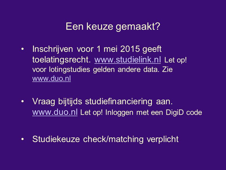 Een keuze gemaakt? Inschrijven voor 1 mei 2015 geeft toelatingsrecht. www.studielink.nl Let op! voor lotingstudies gelden andere data. Zie www.duo.nlw